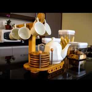 Conjunto de Café Com 6 Xícaras e Bule Em Cerâmica