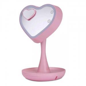 Espelho para Maquiagem Led Coração Rosa Simona