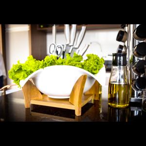 Saladeira De Cerâmica Com Suporte Quadrado De Bambu